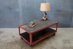 Industrial Wood Steel TV Table Stand : 20th Century Vintage Industrial : Modern Fifty