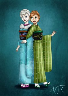 Kimono Disney Princesses : Elsa and Anna- I start from the coronation ceremony which sound like the coming in age Japanese ceremony, so, I dress Elsa and Anna in furisode. It's Elsa who is in age so I add her this white shawl. (which is more because is cold in February than a typical outfit) I put some traditional snow flake on the Elsa furisode and I tried to reproduce the dress of Anna in a kimono.