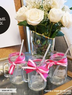 Awesome Bridesmaid Gift! Personalized Mason Jars by Let's Tie The Knot on Etsy. Customize each with name, role and wedding date! (Maid of Honor Gift, Wedding Party Gift, Rustic Wedding Favor)