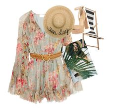 """a sunny day"" by nhungnguyen-vi ❤ liked on Polyvore featuring Zimmermann, Bloomingville, Stuart Weitzman, Eugenia Kim and Salvatore Ferragamo"