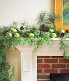 Natural Simplicity: Celebrate the season's simple joys by creating a free-flowing look with just three natural materials: green apples, pinecones and long-needle evergreen branches.