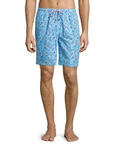Inca Paisley-Print Swim Shorts, Light Blue, Men's, Size: XX-LARGE - Peter Millar