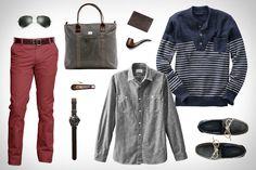 Land's End Nautical Stripe Trapper Sweater ($60). Land's End Guildsman Workshirt ($49). Land's End Jeano 608 Slim Pants ($58). Land's End He...