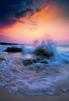 Limited Edition Fine Art Photograph by Peter Lik. Landscape photo of the sun setting on waves crashing on the rocks and beach off of The Big Island, Hawaii Beautiful Sunset, Beautiful World, Beautiful Places, Beautiful Pictures, Stunningly Beautiful, No Wave, All Nature, Amazing Nature, Amazing Grace