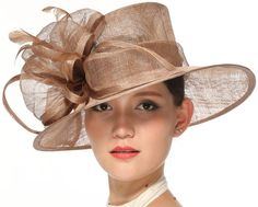 46e2d3d6827e6 Church Kentucky Derby Carriage Tea Party Wedding Wide Brim Woman s Royal  Ascot Hat in Solid Sinamay