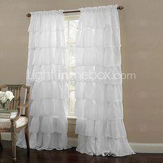 Ruffle Rod Pocket White Curtain (One Panel) - USD $18.99