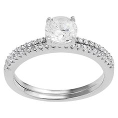 3/4 CT. T.W. Tressa Collection Round Cut CZ Basket Set Bridal Ring Set in Sterling Silver
