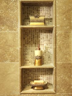 Shower shelves with tile inset.Traditional Bathroom Design, Pictures, Remodel, Decor and Ideas - page 55