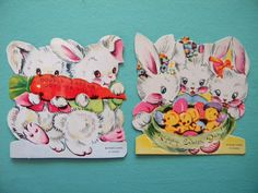 2 Unused Vintage Easter Bunny Cards by SongbirdSalvation on Etsy