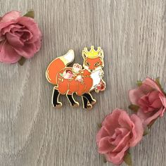 Fox Hard Enamel Pin, Crowned Fox, Woodland Creature, Cloisonne Pin by TheCrownedRabbit on Etsy https://www.etsy.com/listing/587547592/fox-hard-enamel-pin-crowned-fox-woodland