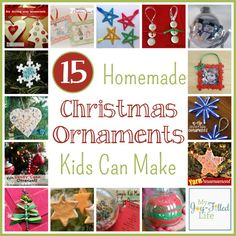 Homemade Christmas Ornaments Kids Can Make - My Joy-Filled Life Kids Christmas Ornaments, Christmas Crafts For Kids To Make, Christmas Activities For Kids, Homemade Christmas, Christmas Projects, Winter Christmas, Holiday Crafts, Holiday Fun, Diy Ornaments