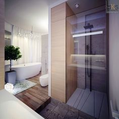 Leks Architects Kiev Apartment- elemental bathroom with contrasting grains of wood and modern shower