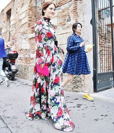 Winter Roses – Blugirl Fall Winter 2016/2017 • Chinese model Chiao Chiao in a rose print long chiffon dress during the Blugirl Spring Summer 2017 Fashion Show. • Milan, Italy – September 24, 2016