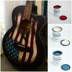 Annie Sloan Stockists have such creative customers! Susan Olson painted Old Glory on an acoustic bass guitar using a combination of Burgundy, Old White, and Aubusson Blue Chalk Paint® decorative paint by Annie Sloan. It's especially meaningful as we head into the July 4th holiday in the US