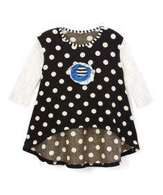Love this Black & Cream Polka Dot High-Low Tunic - Toddler & Girls on #zulily! #zulilyfinds
