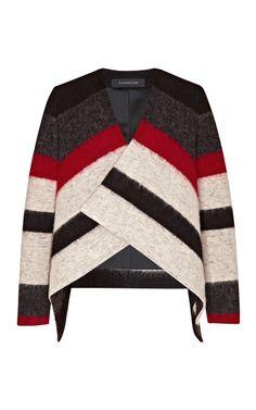 striped wool blend draped