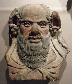 Etruscan Antefix with head a Silenus,4th century,from Cerveteri.  Walters Art Museum