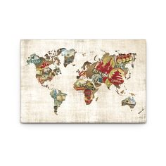 Artefx Decor Well Traveled World Map by Dorothea Taylor Graphic Art on Canvas World Map Art, World Map Canvas, Canvas Art Prints, Canvas Wall Art, Graphic Prints, Graphic Art, Thing 1, Travel Themes, Metal Wall Art