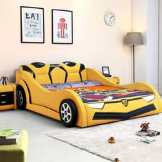 Online Shop luois fashioChildren's Car Creative Bed Meters Single Boy and Girl Cartoon Leather with Guardrail Small Wooden Boy Car Room, Boys Car Bedroom, Cool Kids Bedrooms, Boys Bedroom Decor, Kids Bed Design, Kids Bedroom Designs, Home Room Design, Kids Car Bed, Creative Beds