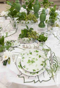 mesa para jantar com sementes e verdes, peças em verde e branco.