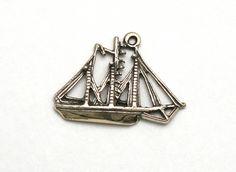 Sailing Ship Bracelet Charm Vintage Sterling Silver Three Masted Schooner by SterlingRevival on Etsy