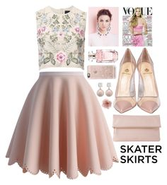"""""""Skater Girl"""" by amaliakumala ❤ liked on Polyvore featuring Chicwish, Needle & Thread, Semilla, Whistles, Accessorize, Elie Saab, Casetify, girly and skaterSkirts"""