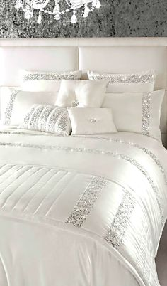 Beautiful Bed Spread With Silver Sequins In Stripe Motive.