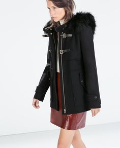 Image 3 of DUFFLE COAT WITH FUR HOOD from Zara
