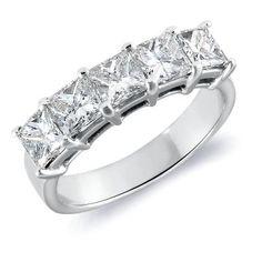 Five stone princess cut diamond ring in platinum.$7450