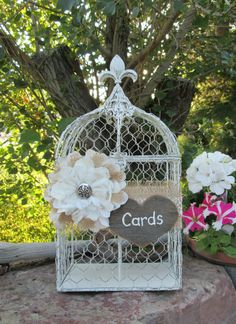 Bird Cage Card Holder  Wedding Card Box  ~ Rustic Wedding ~ Barn Wedding ~ Burlap Wedding by MyMontanaHomestead