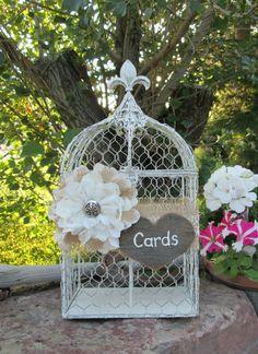 Bird Cage Card Holder  Wedding Card Box  ~ Rustic Wedding ~ Barn Wedding ~ Burlap Wedding by MyMontanaHomestead