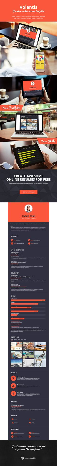 Clean \ simple corporate online resume template with vertical - online resume templates
