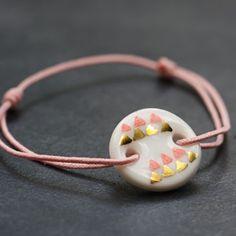 Bracelet 'jour de fête' rose et or