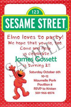 Sesame Street Elmo Birthday Party Digital Invitation