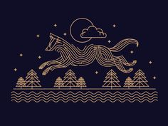 Night Time Run by Brian Steely. dark horse, outline, dark backgroudn illustration of lines. love it!