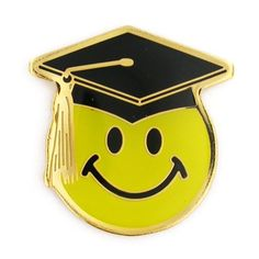 "Smile Face Graduation Pin. 3/4"" Gold Plated and Soft Enamel Filled. $3.95"