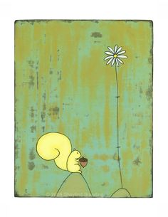Constant Dreamer, Squirrel Print Daisy Girl, Or Mat, Little Critter, Chipmunks, Squirrels, Pigment Ink, All Print, The Dreamers, Giclee Print