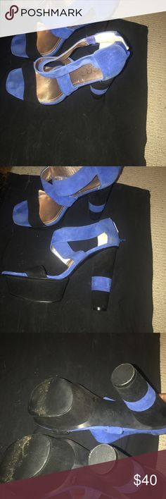 Bcbg stacked heel sandal gently worn Blue black open toe stacked heel sandal platform palm suede material.  Excellent condition worn once BCBG Shoes Sandals