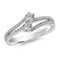 Valina Bridals Two-Stone Diamond Engagement Ring Mounting in 14K White Gold (.46 ct. tw.)