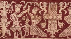 Embroidered Strip, 1500s, Italy, 16th century,  embroidery; silk on linen, Overall - h:12.70 w:53.30 cm