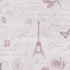 NEW-LUXURY-HOLDEN-CALLIGRAPHY-PARIS-POSTCARDS-STAMPS-EIFFEL-TOWER-WALLPAPER-ROLL