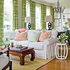 a favorite living room from either southern living or coastal living. love the green curtains and coral pillows Coastal Living Rooms, Cottage Living, Formal Living Rooms, My Living Room, Home And Living, Living Room Decor, Simple Living, Dining Room, Cottage Chic