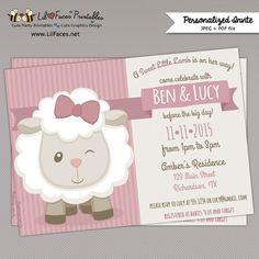Cute Little Lamb Baby Shower Printable Invitation