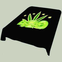 Black and Green 420 Marijuana Leaf Soft Plush Mink Blanket Full/queen Size