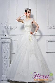 Fashion A-line Bateau Straps Chapel Train Wedding Dress