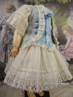 One-piece French satin and patterned lace antique dolls dress with pleated gauze skirt from Stairwaytothepast on Ruby Lane