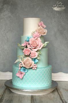 Indescribable Your Wedding Cakes Ideas. Exhilarating Your Wedding Cakes Ideas. Beautiful Wedding Cakes, Gorgeous Cakes, Pretty Cakes, Cute Cakes, Amazing Cakes, Aqua Cake, Chocolate Hazelnut Cake, Wedding Cake Prices, Cake Wedding