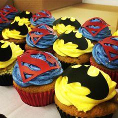 Batman vs Superman Dessert Table - SnuggleMuffin Superhero kids birthday party.