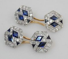 French Cufflinks Art Deco  Pair of stunning French hexagonal, platinum set cufflinks with sapphires and diamonds.  Price: £4500 Tap link now to find the products you deserve. We believe hugely that everyone should aspire to look their best. You'll also get up to 30% off plus FREE Shipping. Amazing!