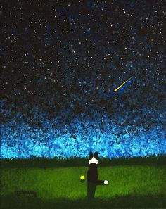 Border Collie Dog Outsider Folk Art Print Todd Young STAR GAZING